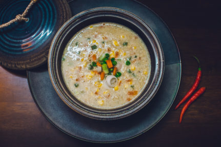 Sesame Corn Quinoa Egg Drop Soup Recipe