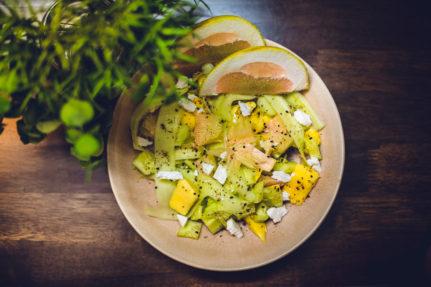Mango, Grapefruit Salad with Maple, Sweet Chilli, Sesame & Flax Seeds Dressing.