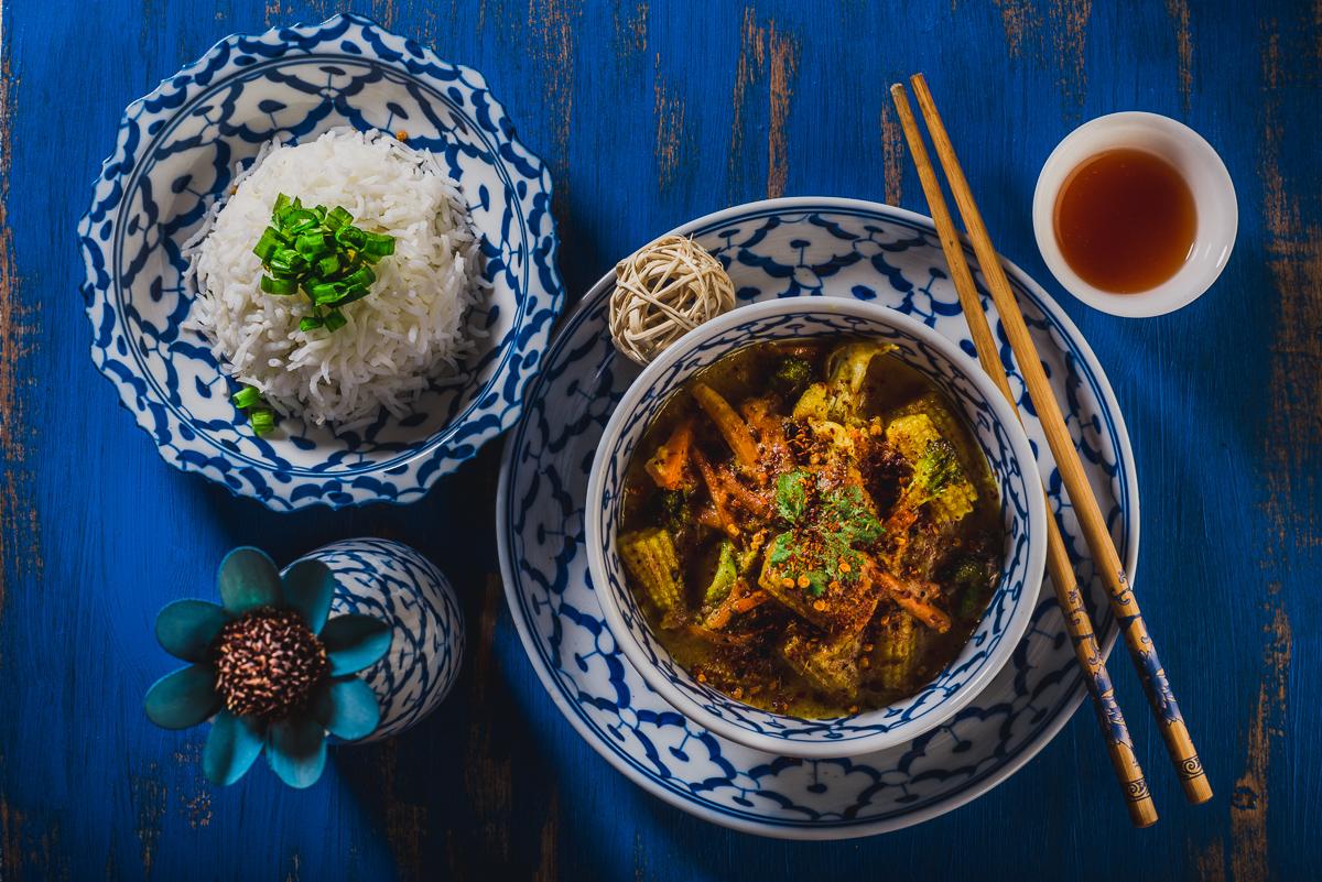 Vegan Khao Soi Veggies in Coconut Curry