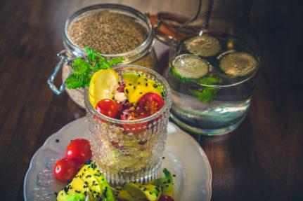 Quinoa Avocado Salad with Lemon and Pomegranate Dressing