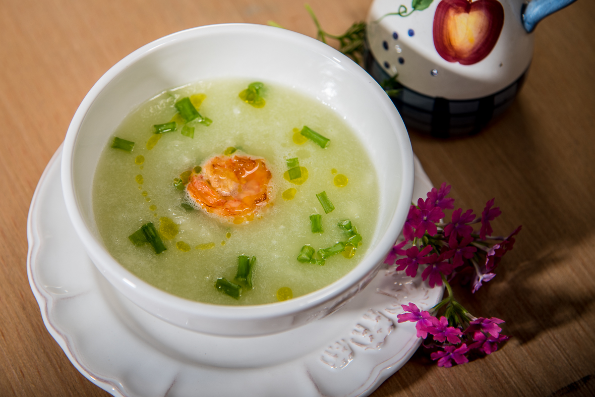 Cucumber and Grapes Gazpacho Cold Soup with Shrimp