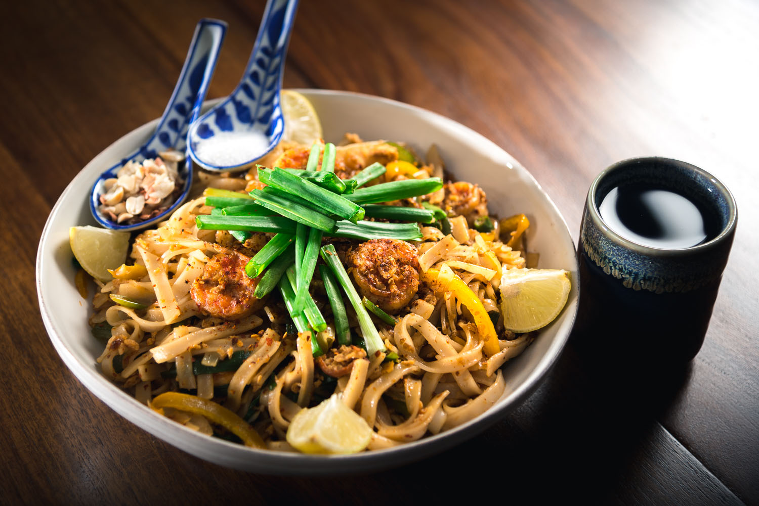 Authentic Pad Thai Rice Noodles with Shrimp in Tamarind sauce