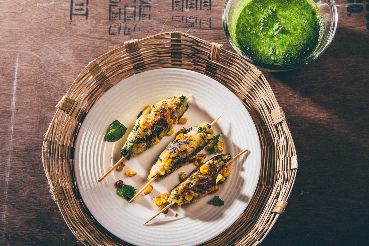 Vegan Corn and Sweet Potato Kebabs with Mint and Coriander Chutney