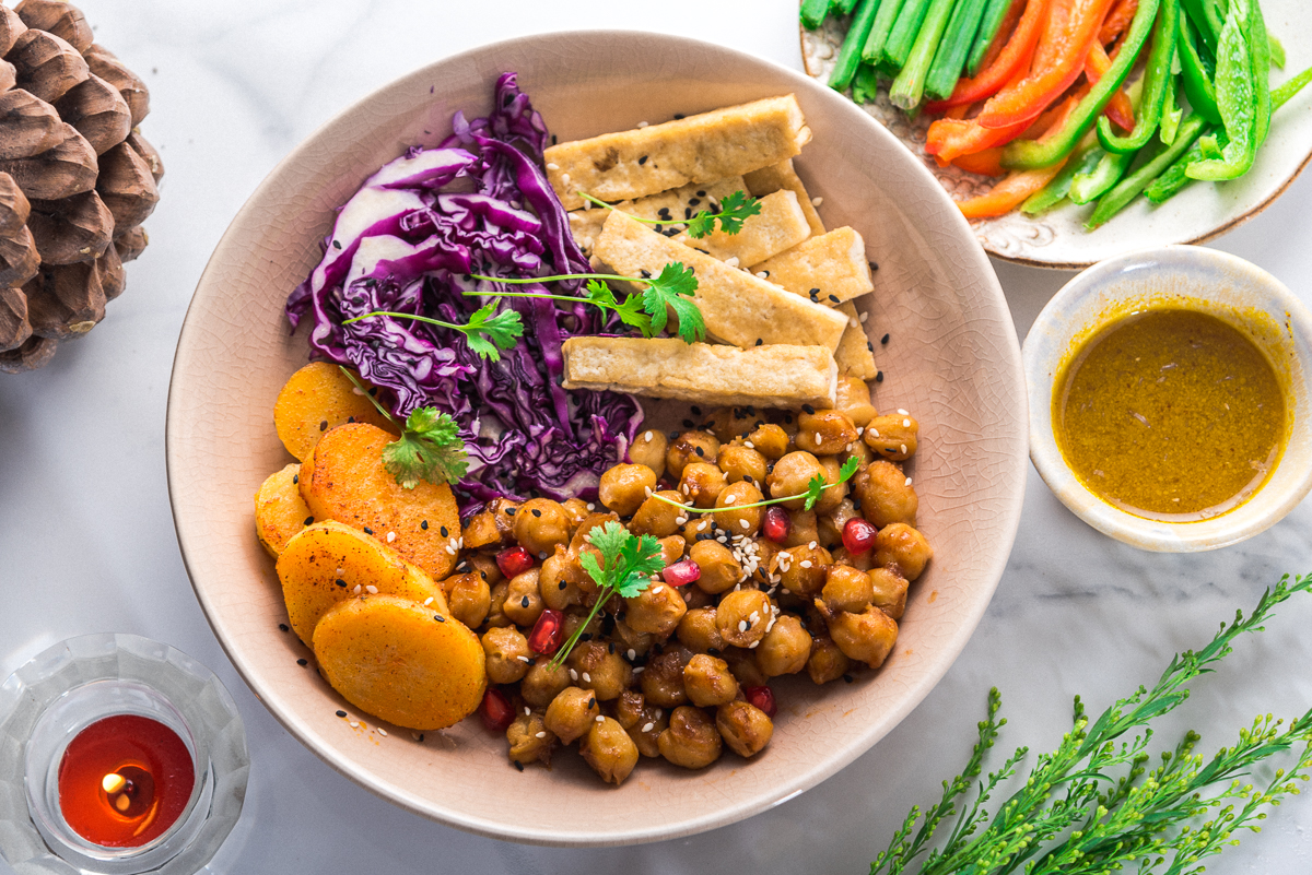 Tofu and Chickpeas in barbecue sauce.