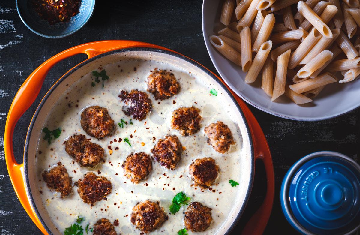 Gluten free dinner Swedish Meatballs in cream sauce