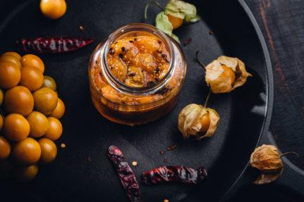 Cape gooseberry or rasbhari sweet hot chutney