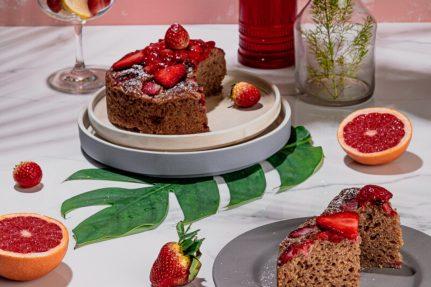 Gluten Free Eggless Fresh Strawberry Cake